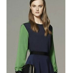 PHILLIP LIM 3.1 Target Navy and Green Top Sheer